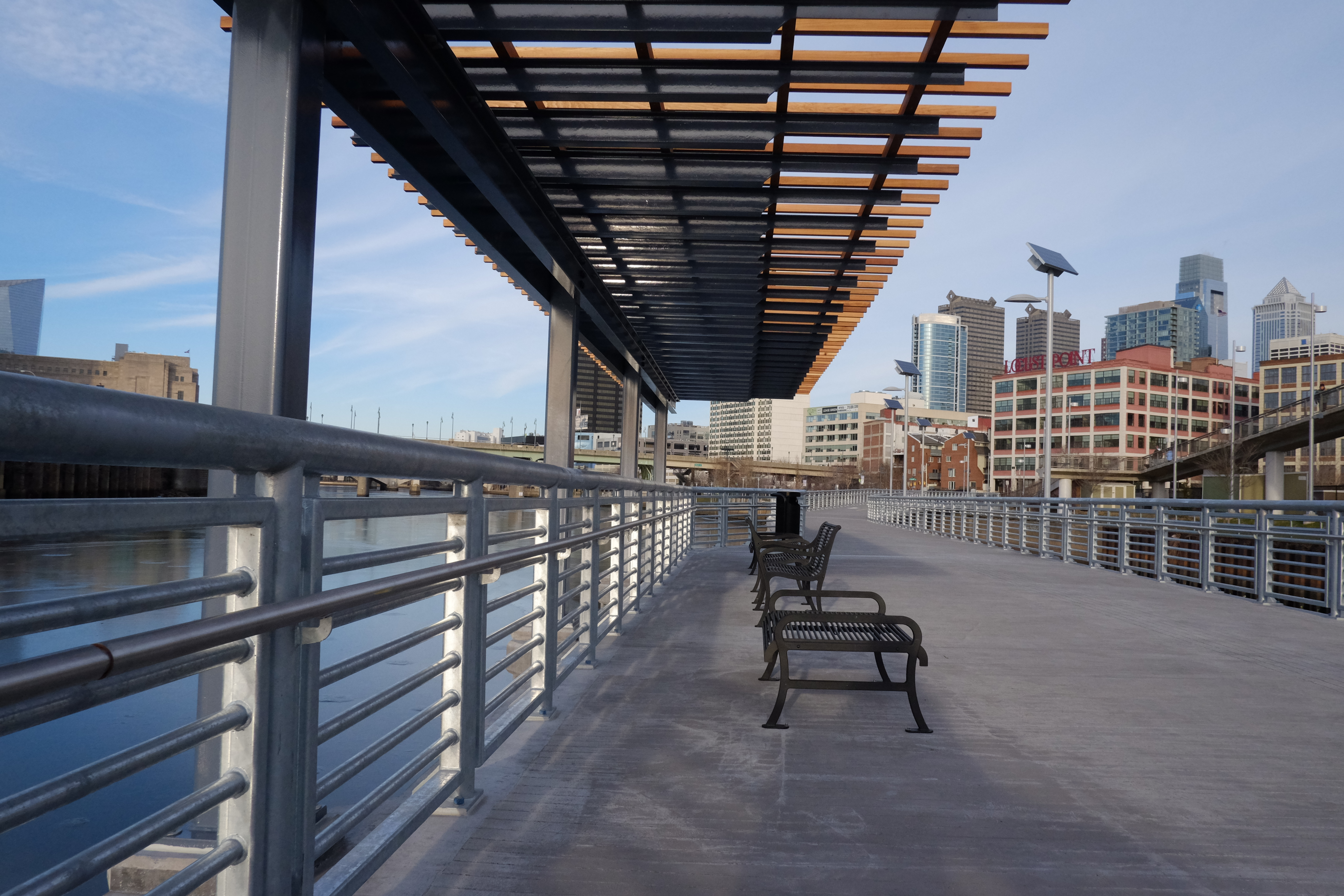 Lots of lines, purlins and rails. Schuylkill Banks Boardwalk, January 2014