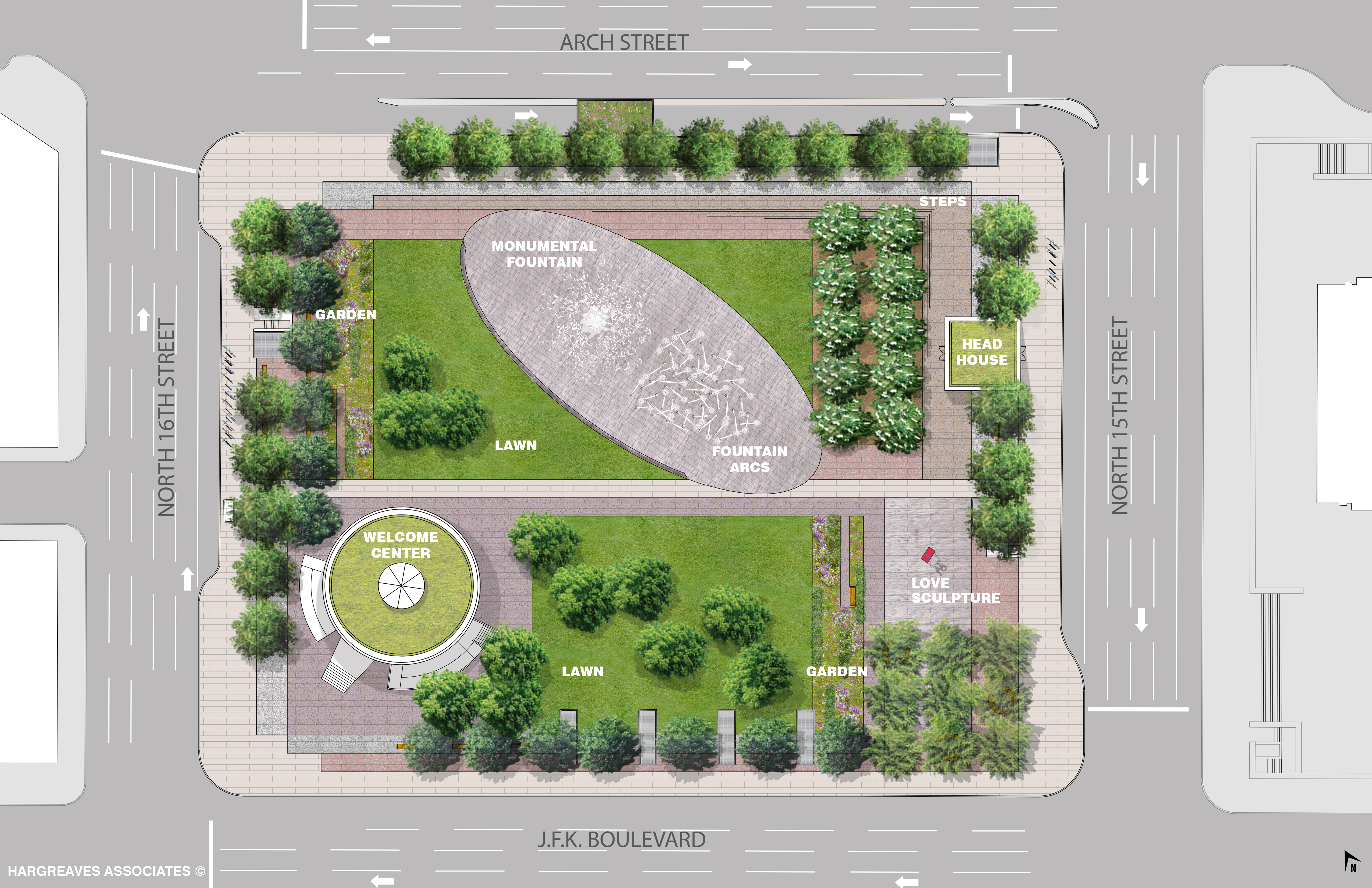 LOVE Park conceptual design, April 2015 | Hargreaves Associates