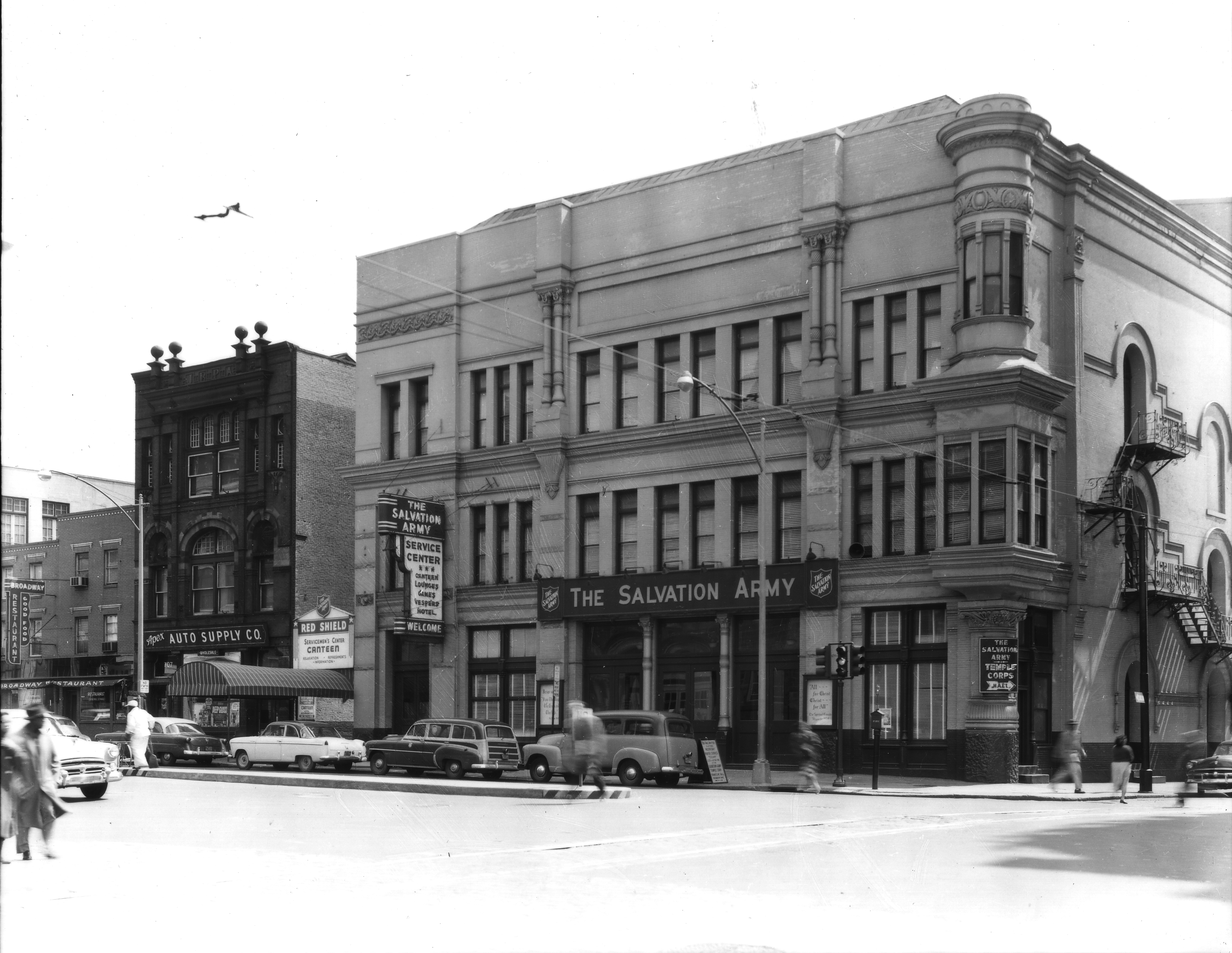 May 12, 1954: Salvation Army Service Center at northwest corner of Broad and Fairmount | Parker and Mullikin, Free Library of Philadelphia Print and Picture Collection