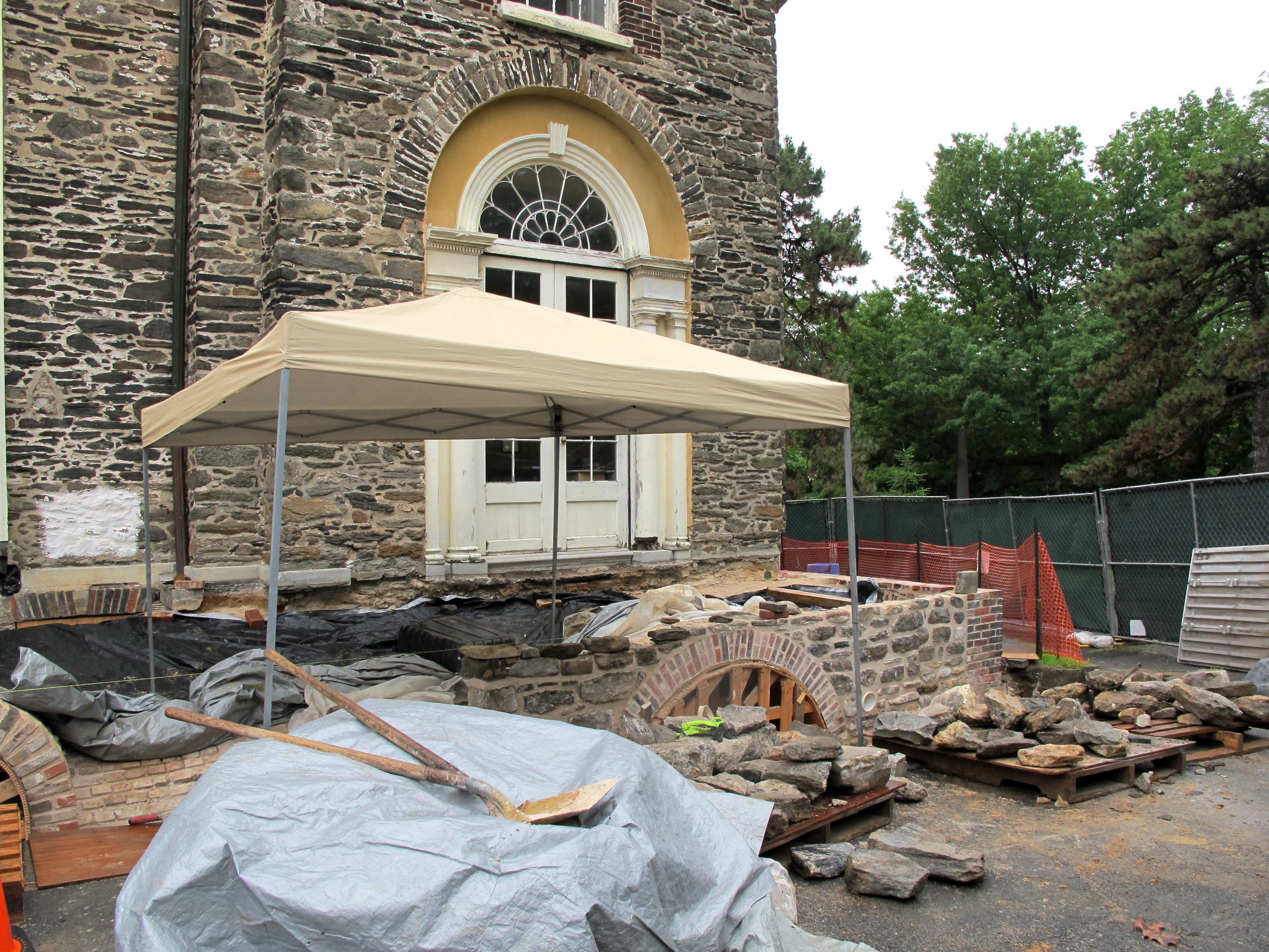 North terrace and cryptoporticus reconstruction underway at The Woodlands, Spring 2015