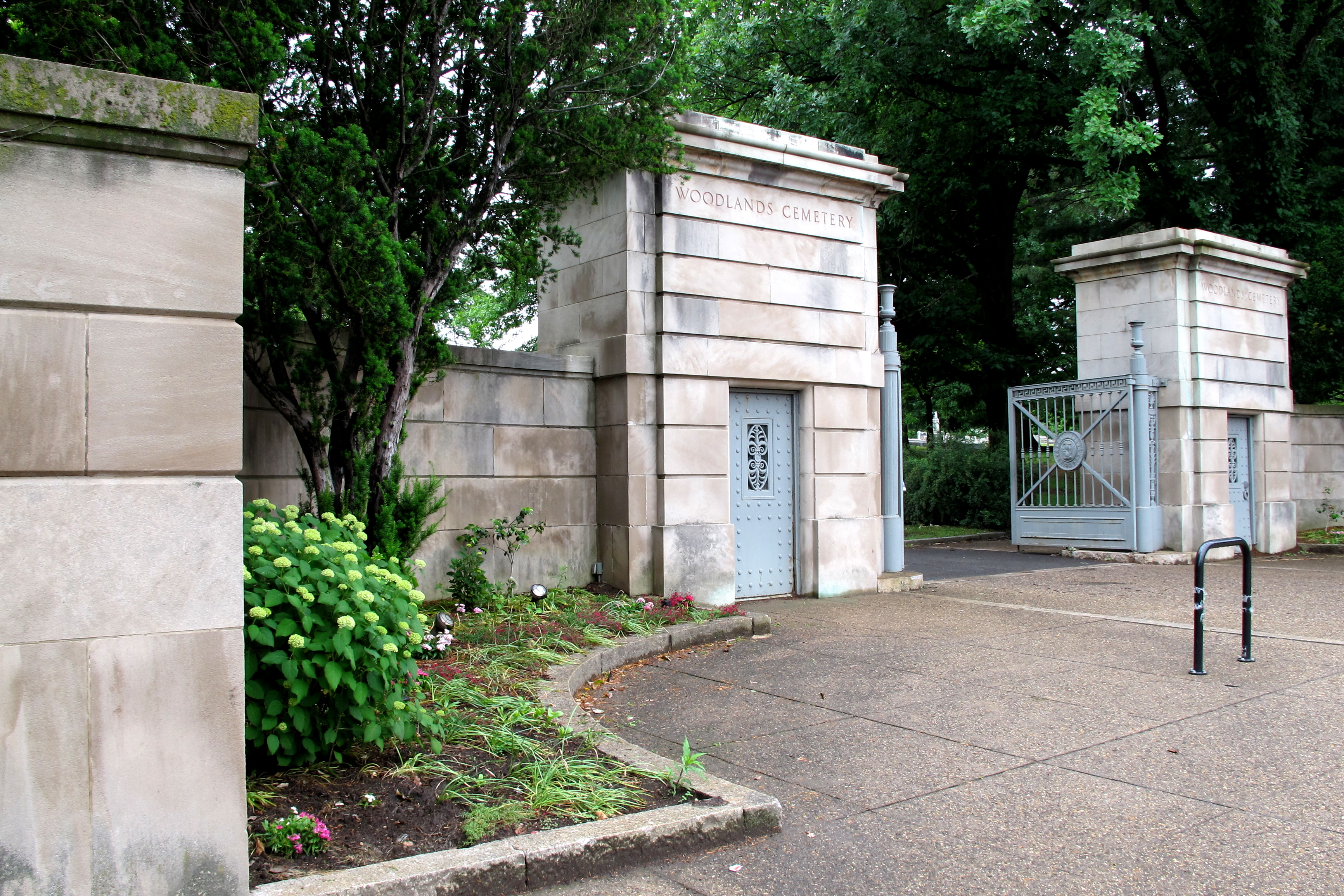 Paul Cret's gates to The Woodlands along Woodland Avenue