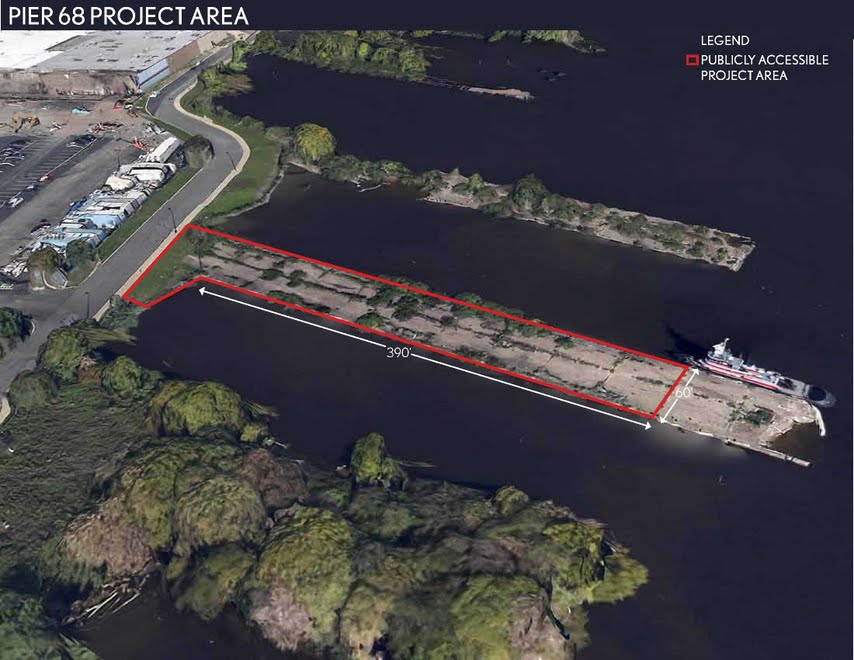 The area outlined in red would become a new pier park focused on fishing. The area outside the red lines is the portion of the pier that needs to be removed.