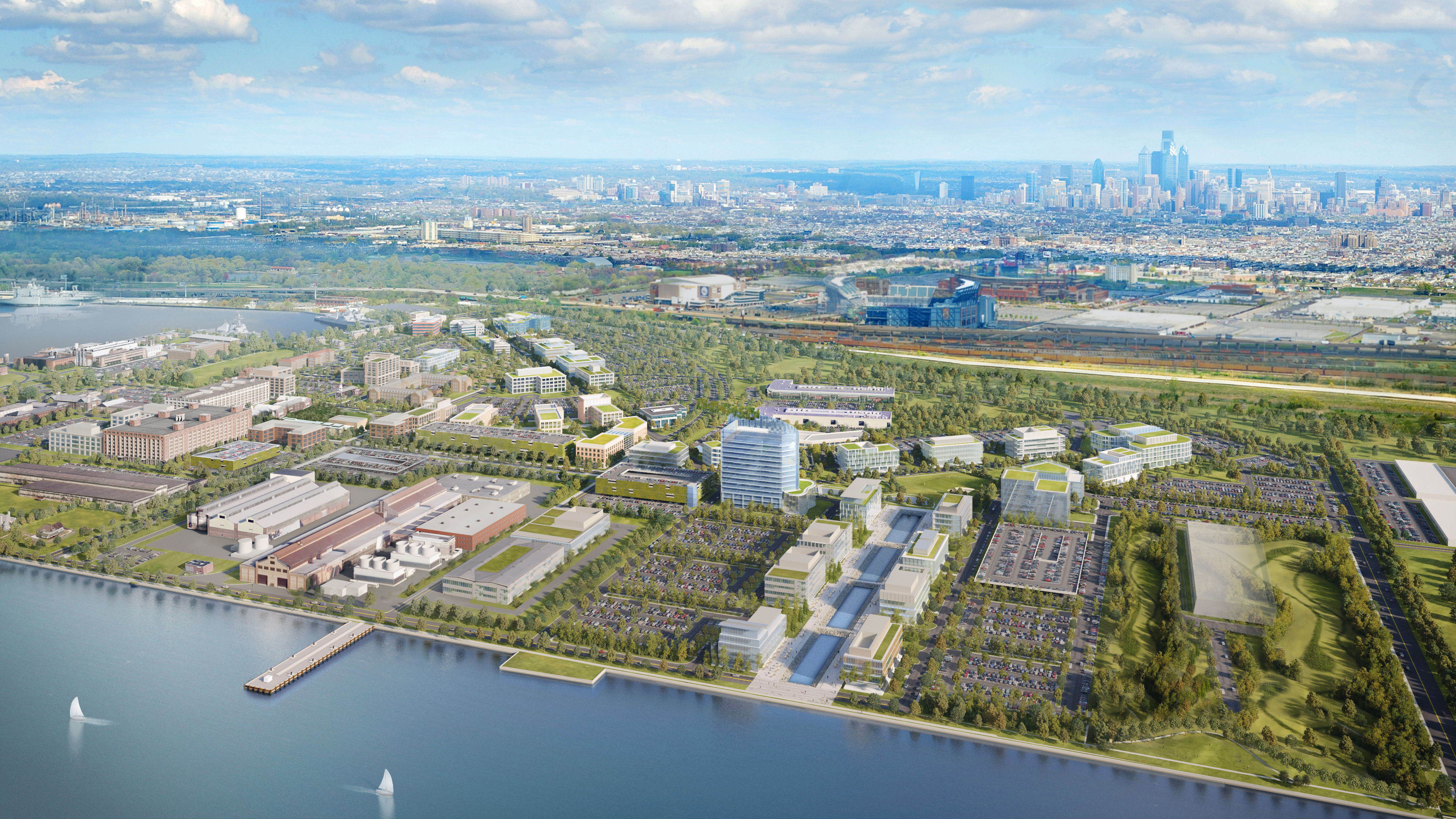 Rendering of Navy Yard from Delaware River