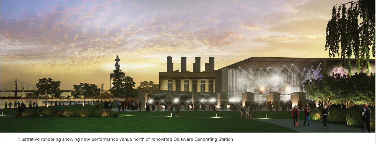 Rendering of new performance venue north of renovated Delaware Generating Station from Master Plan for the Central Delaware, 2012.