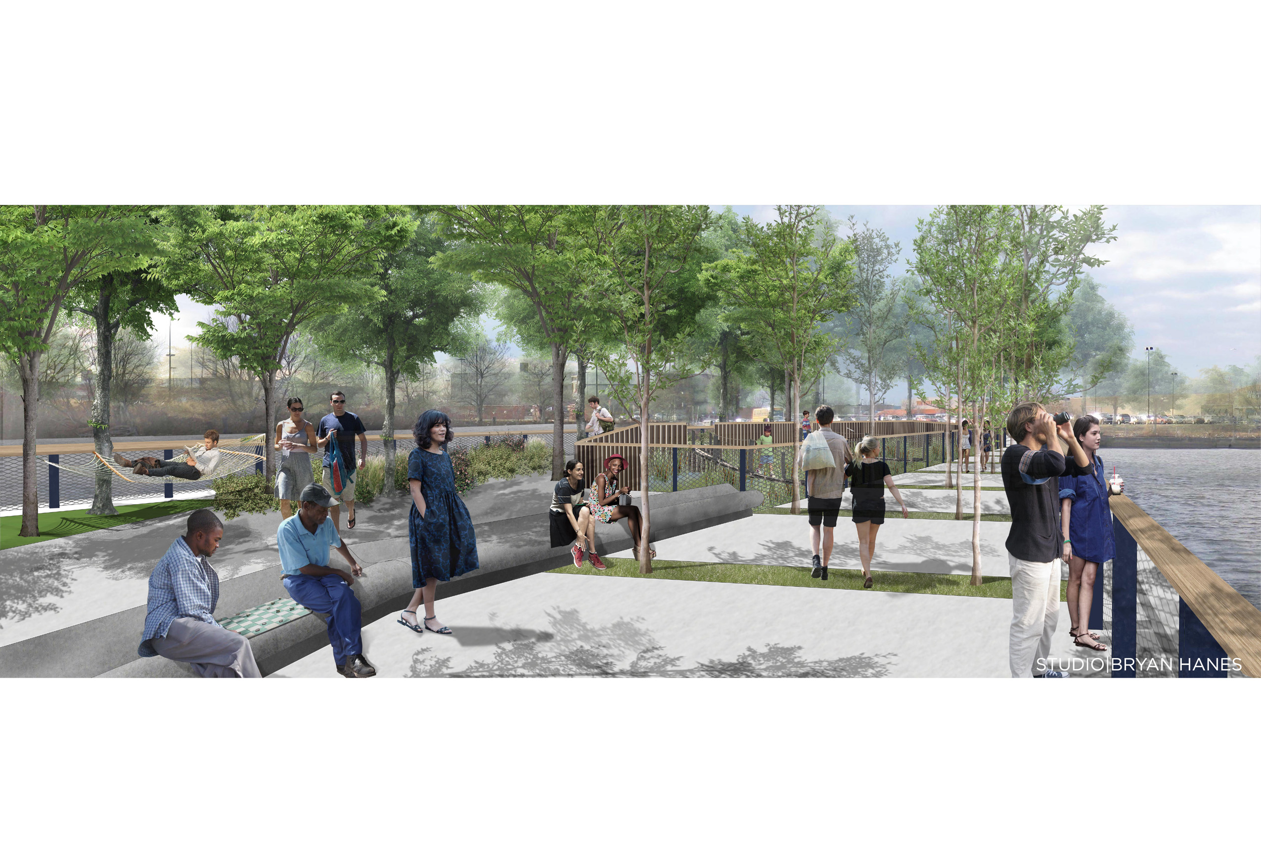 Rendering of Pier 68, water sidewalk | Studio Bryan Hanes