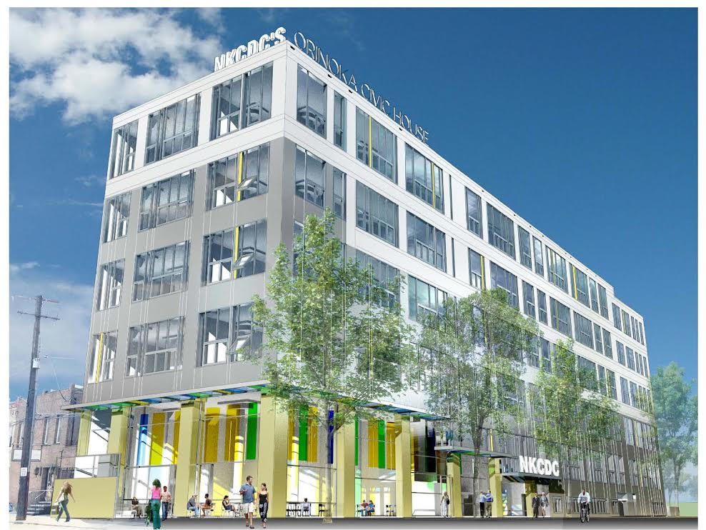 Rendering of proposed Orinoka Civic House, courtesy NKCDC and Jibe Design