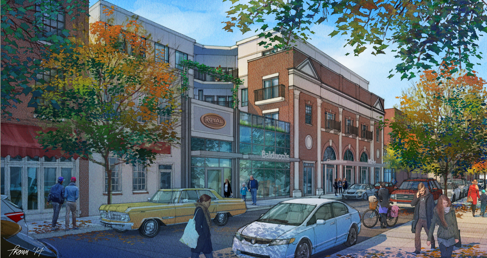 Rendering of redevelopment incorporating historic South Street facade of Royal Theater into mixed-use development | J Davis Architects