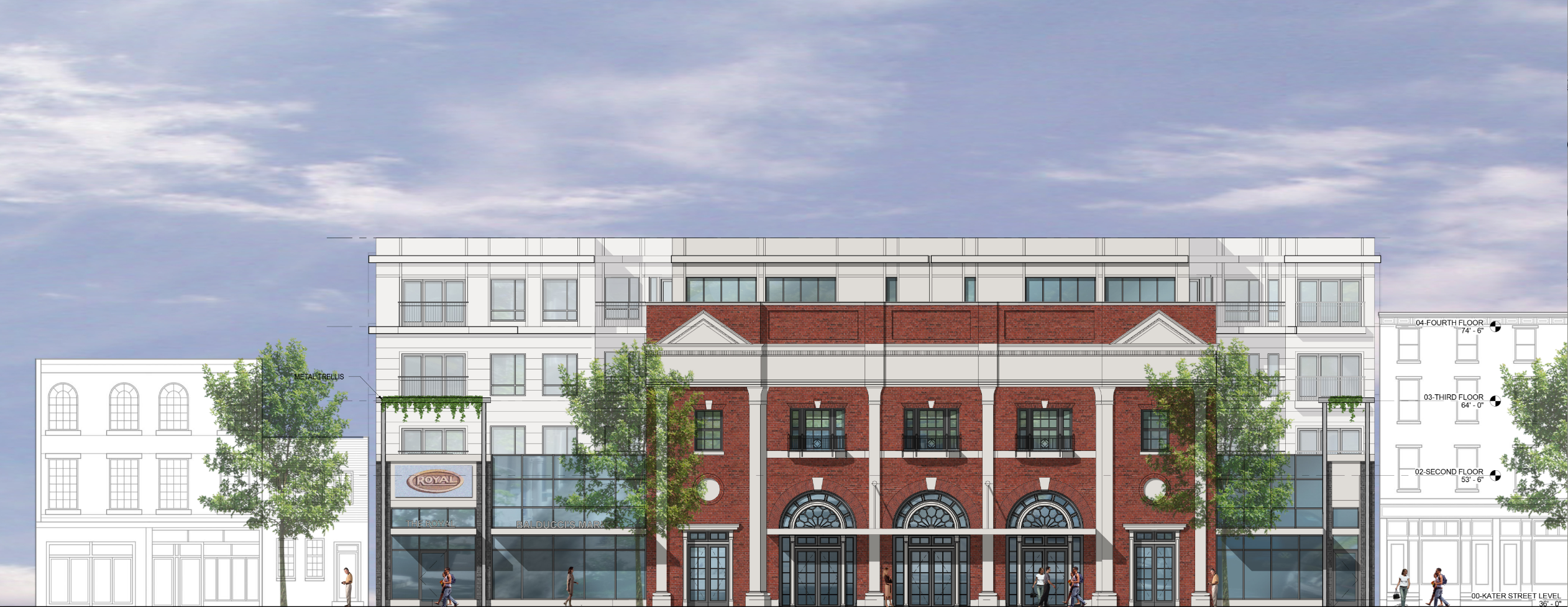 Proposed elevation of Royal Theater's historic South Street facade incorporated into a new building | J Davis Architects