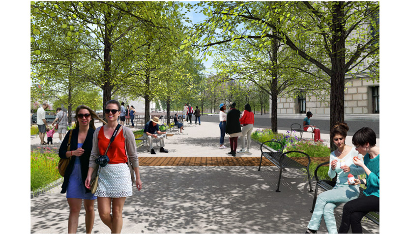 Rendering of streetscape improvements near fountain