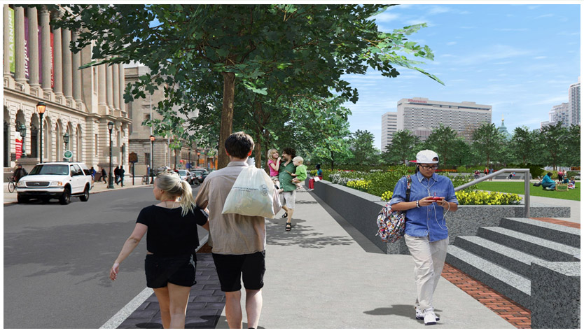 Rendering of streetscape improvements near the Free Library