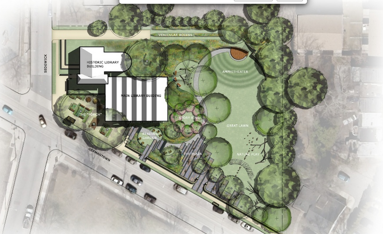 Conceptual placemaking plan of Lovett Library Park | Community Deisgn Collaborative