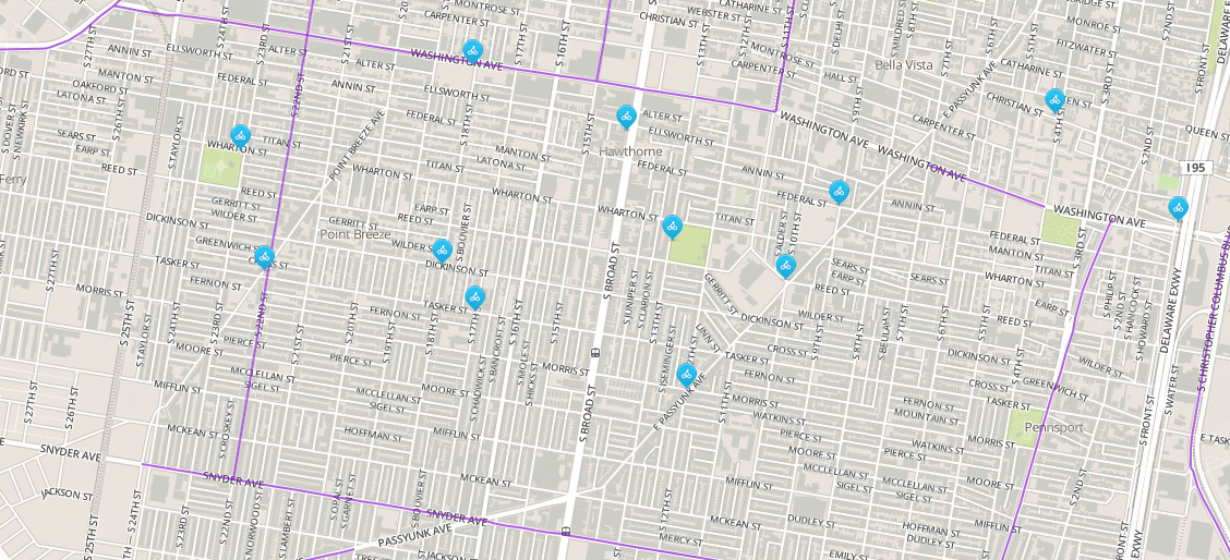 South Philly bike share Phase 1