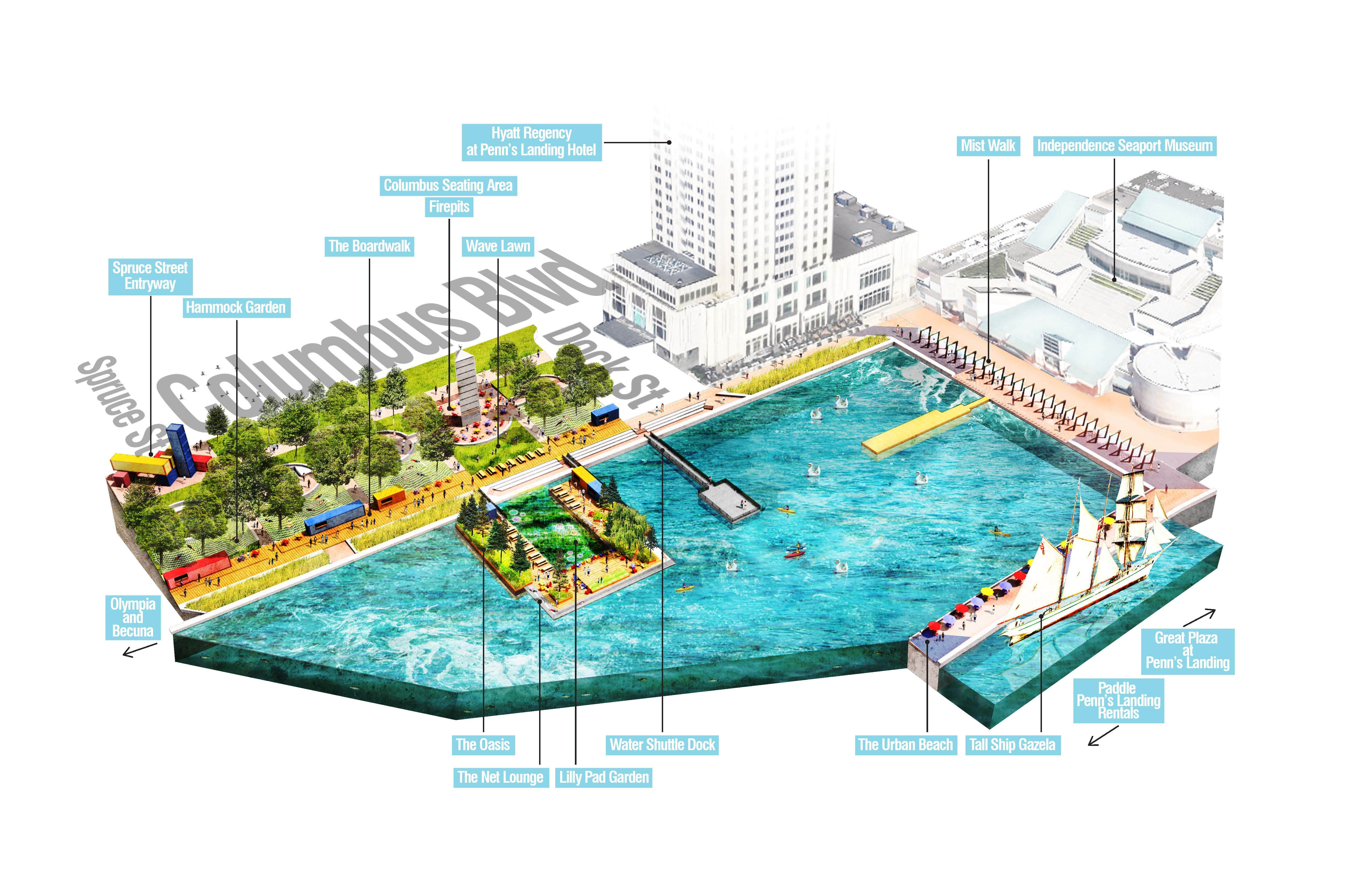 Spruce Street Harbor Park map