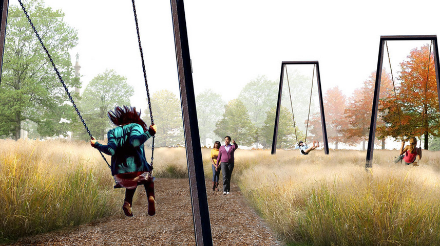 Rendering of swings in Centennial Commons | Studio Bryan Hanes