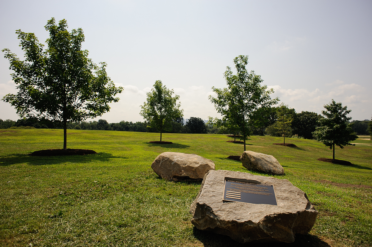 The Plateau Grove and plaque. Photo by Albert Yee for the Fairmount Park Conservancy