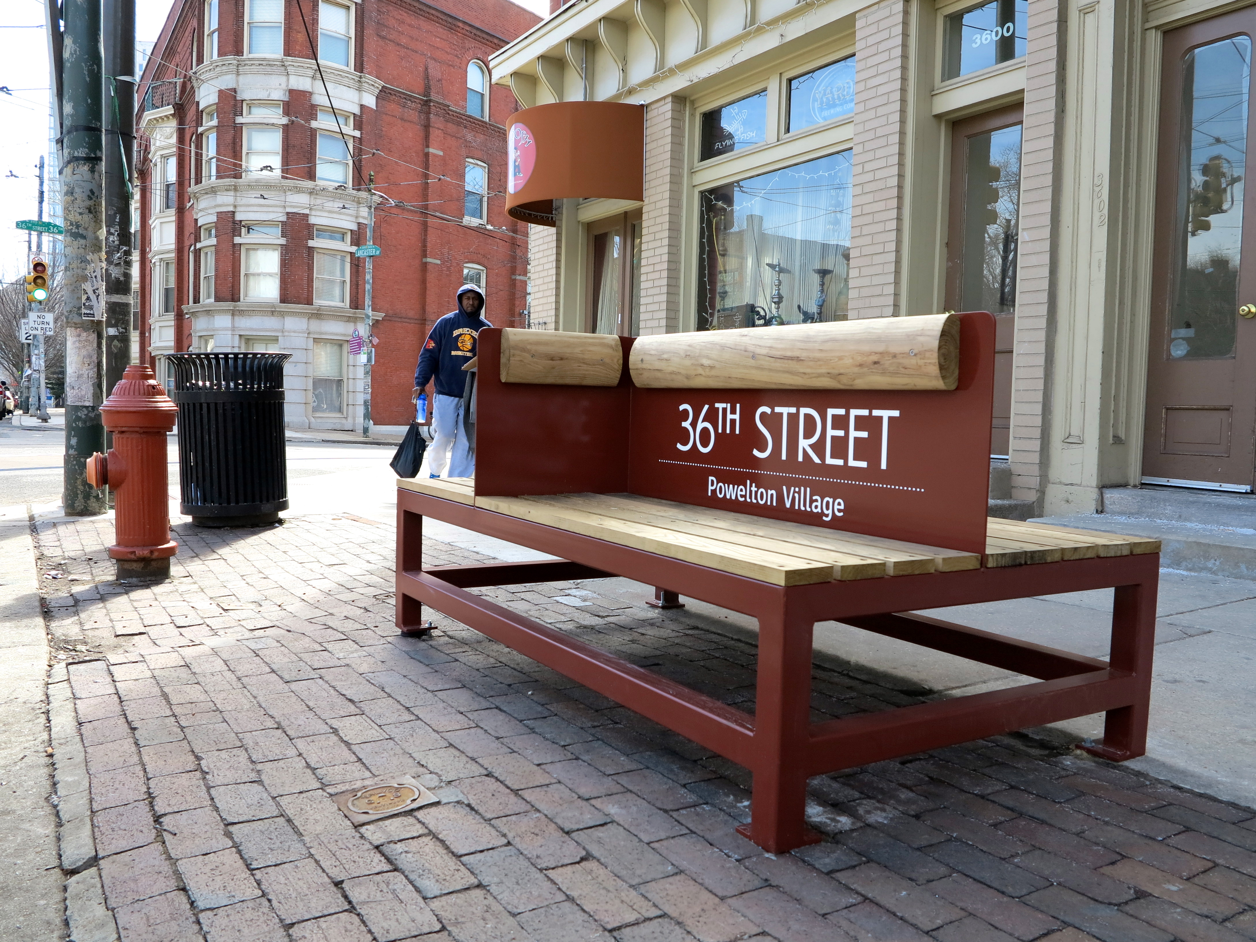 Transit bench social seating at 36th and Lancaster