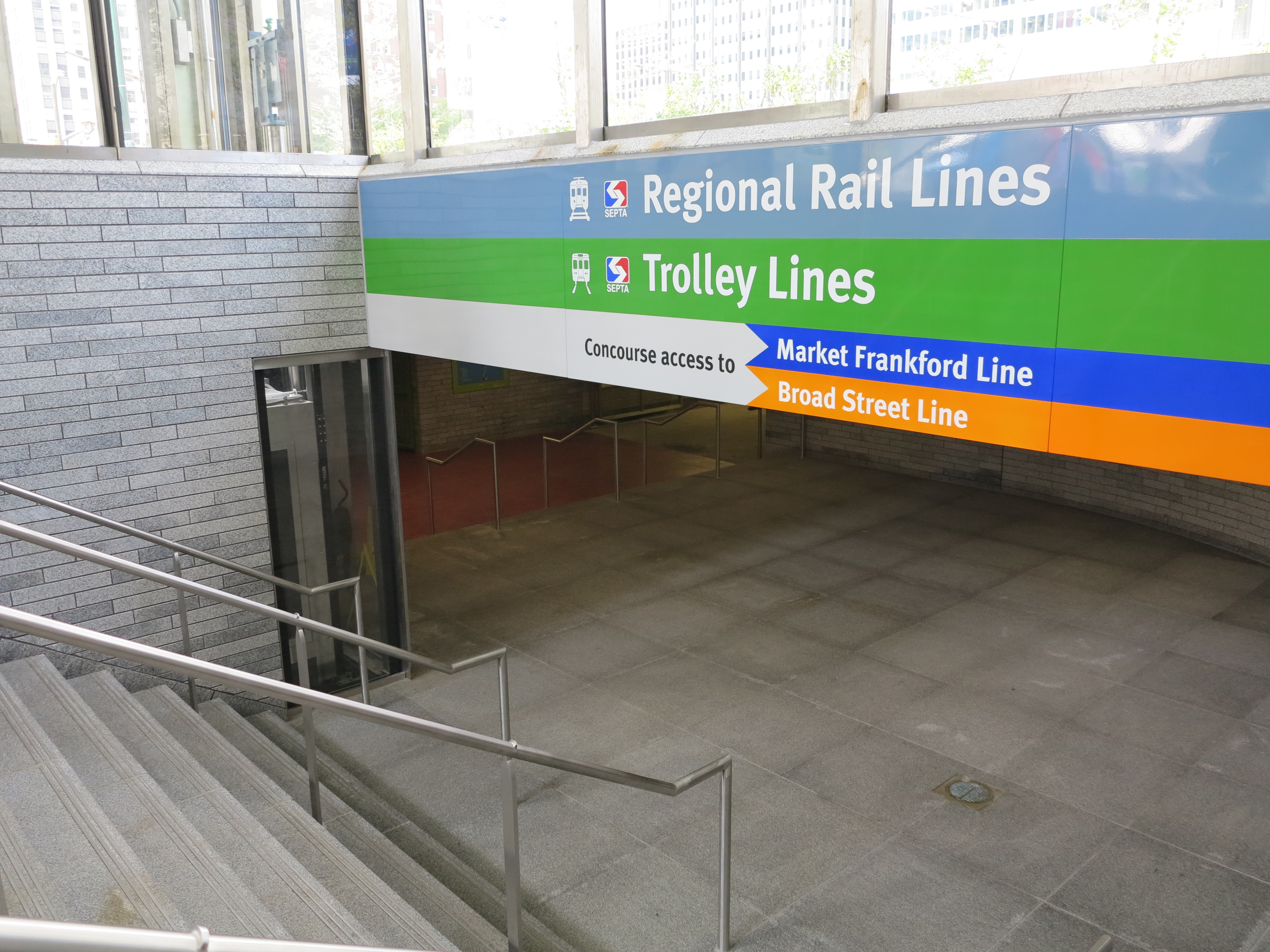 Transit entrance on the north side of Dilworth leading to the concourse and stations below