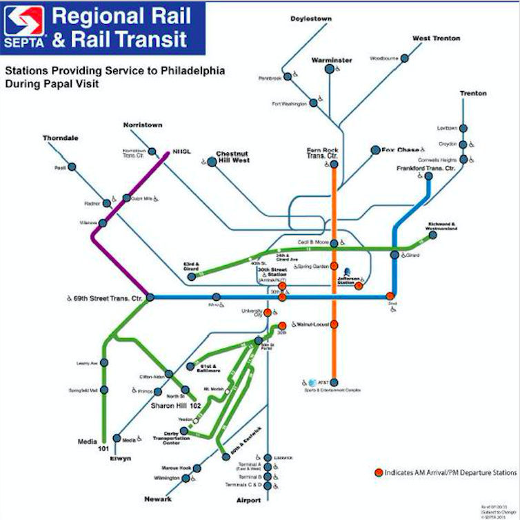 Updated SEPTA Regional Rail & Rail Map for Papal Visit
