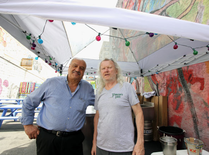 Wajih Abed and Fergus Carey at Fergie's new beer garden, 1214 Sansom St. MICHAEL KLEIN / Philly.com