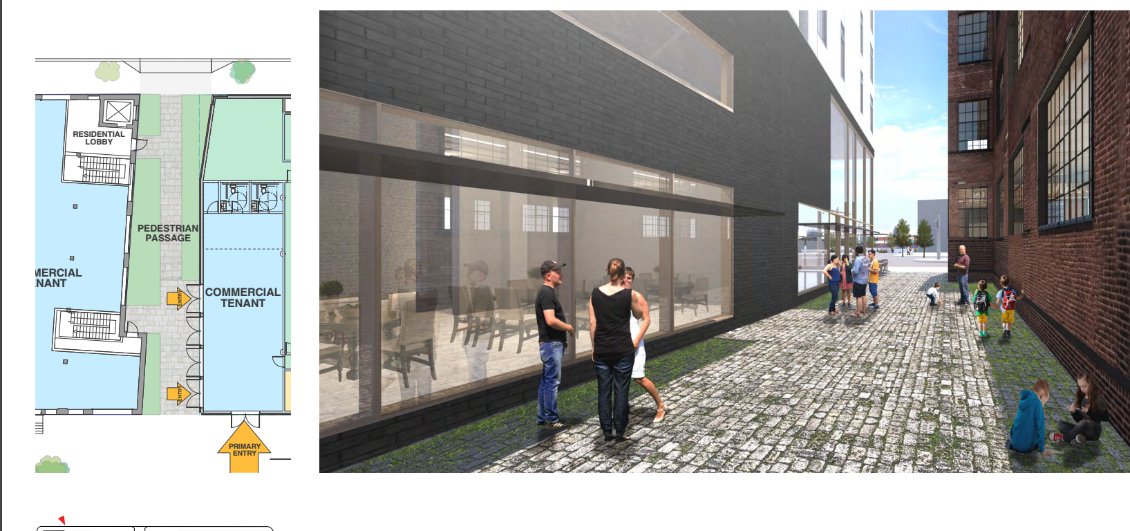 1100 N. Delaware Ave: passage between new construction and old Corner building | Stanev Potts Architects, Nov. 2016 CDR presentation