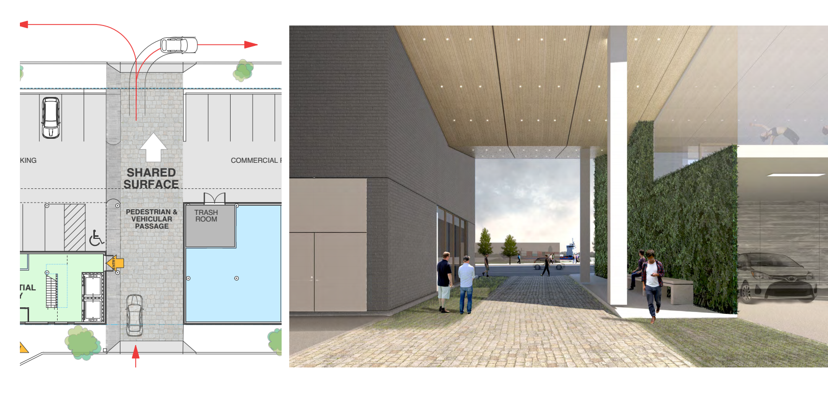 1100 N. Delaware Ave: shared surface passageway | Stanev Potts Architects, Nov. 2016 CDR presentation