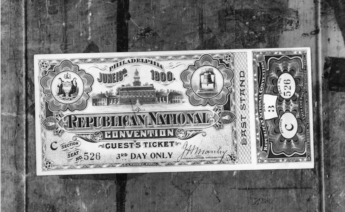 1900 Republican Convention ticket | Evening Bulletin | Special Collections Research Center, Temple University Libraries, Philadelphia, PA