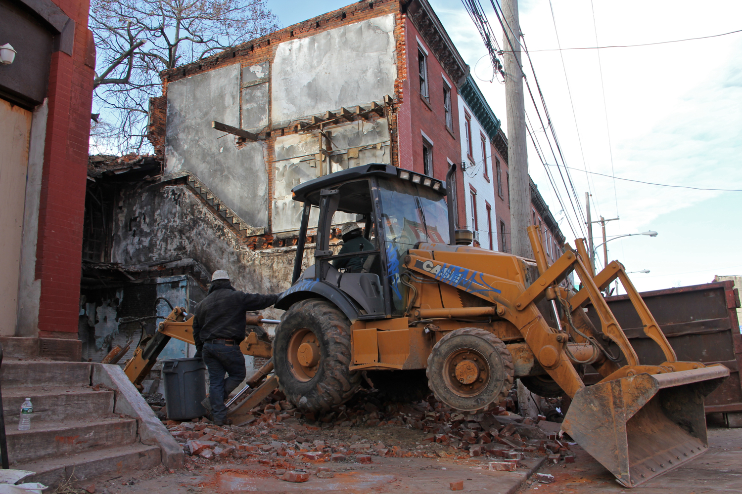 2400 block of Oxford Street, demolitions underway. February, 2016 | Emma Lee/WHYY