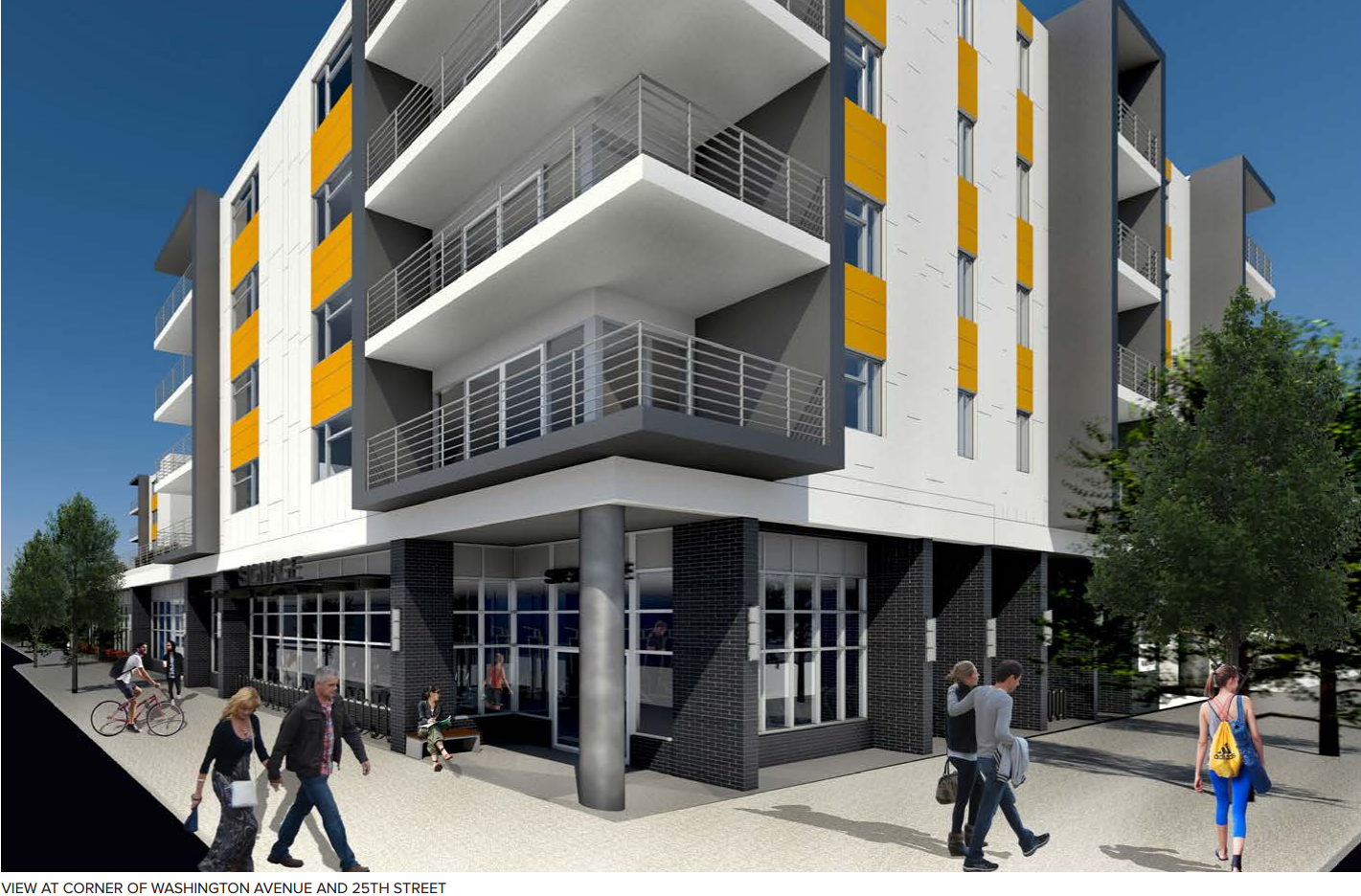 2501 Washington Ave: View of corner of 25th and Washington | CDR presentation Oct 2016
