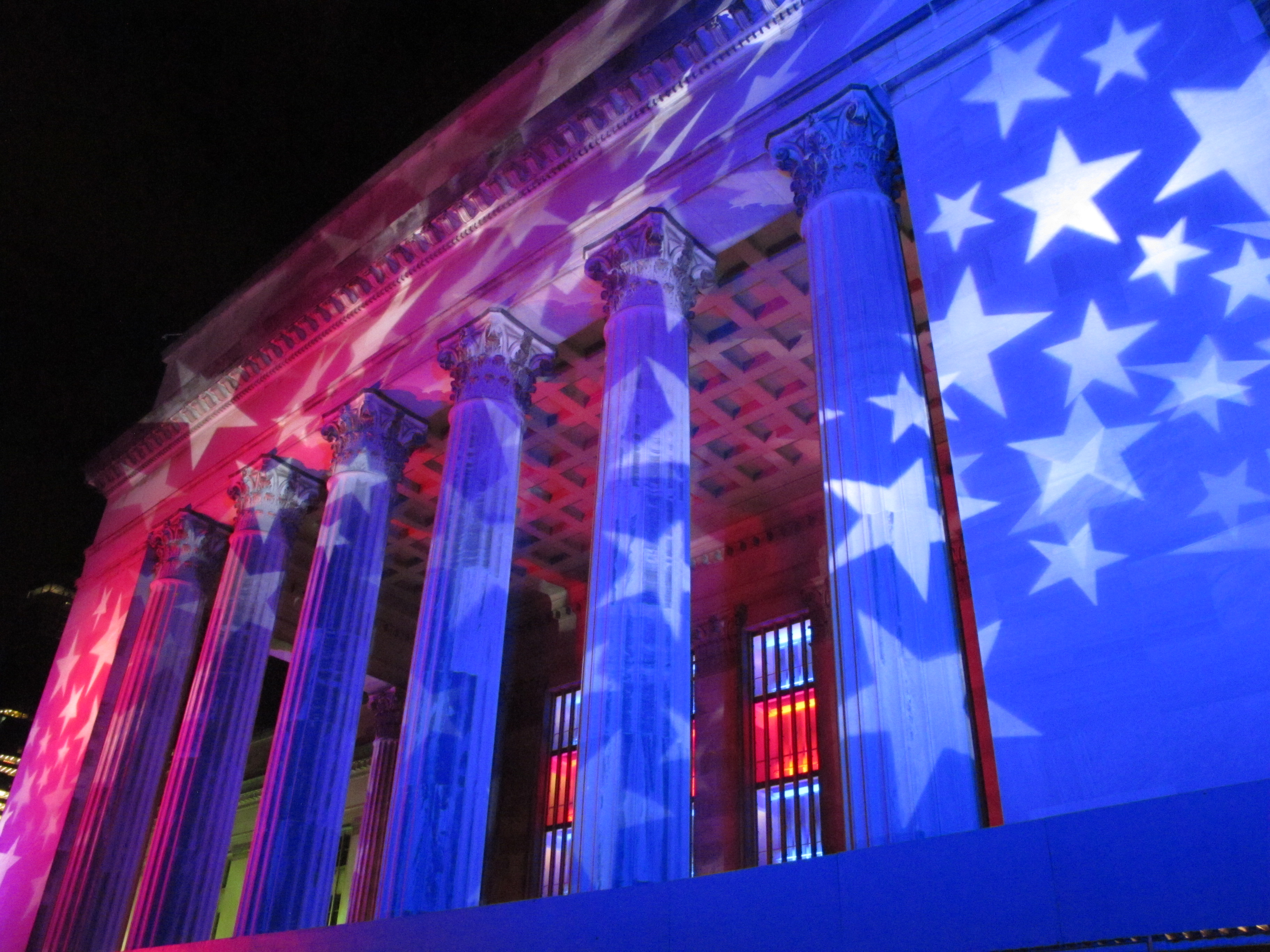 30th Street Station illuminated for DNC with LED