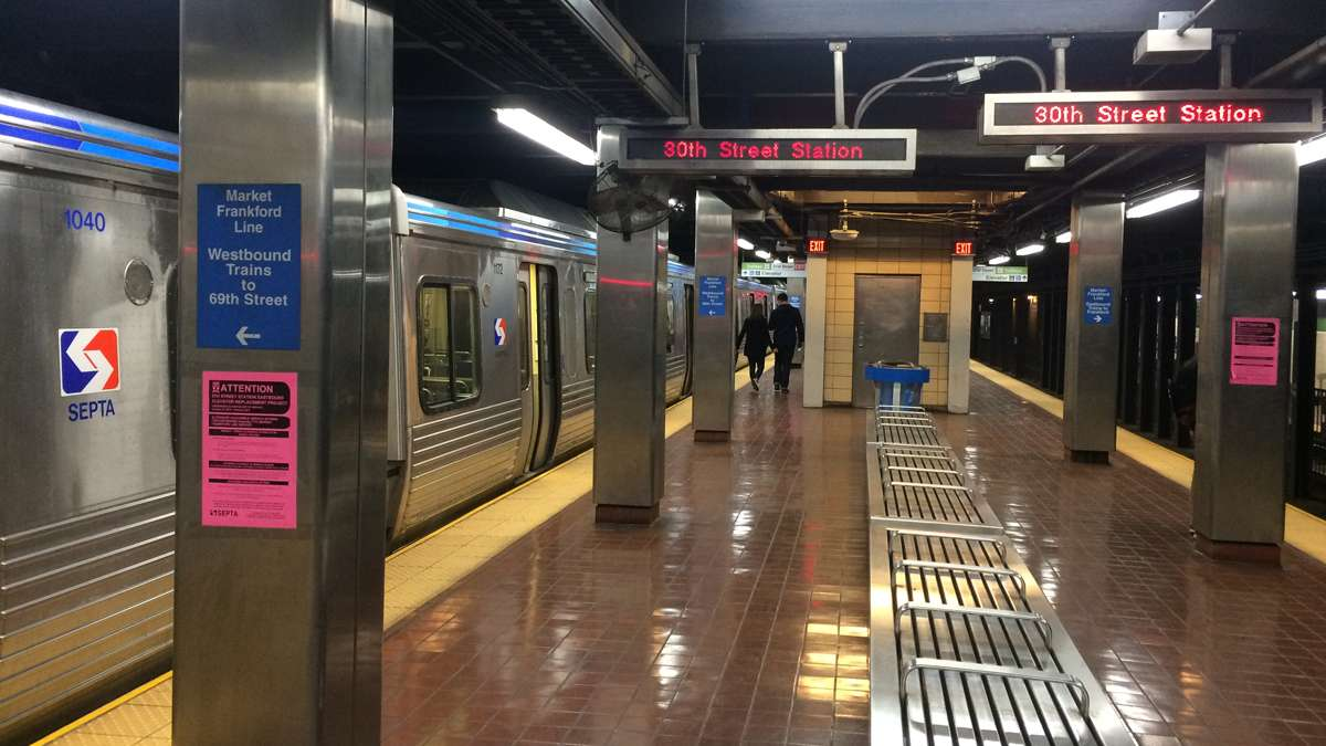 30th Street Station stop on the Market-Frankford El was quiet but trains were running, Monday Nov. 7 as service resumed | Catalina Jaramillo / WHYY