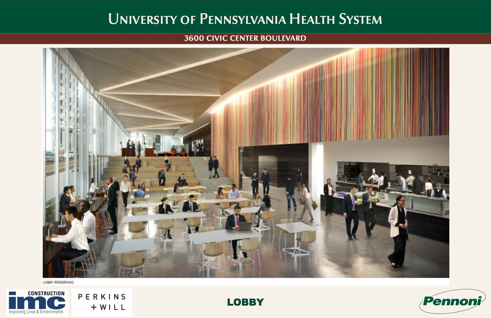 3600 Civic Center Blvd, Lobby rendering | August 2016 CDR | IMC, Perkins + Will, Pennoni
