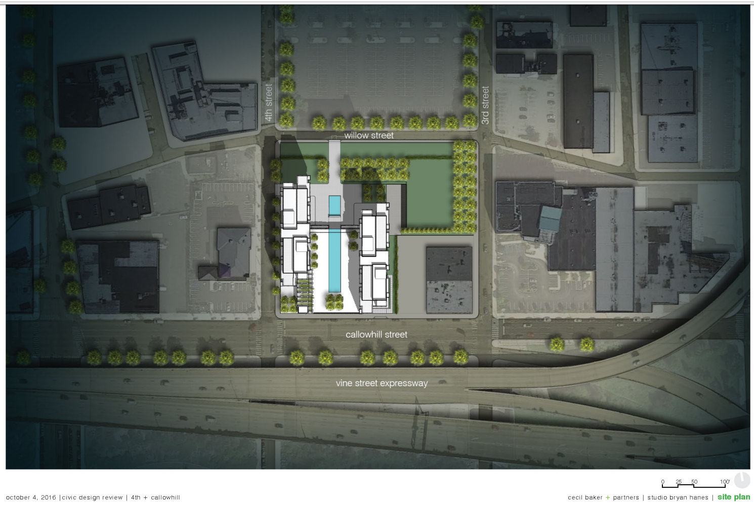 4th + Callowhill: site plan | Cecil Baker, Studio Bryan Hanes - CDR presentation Oct. 2016