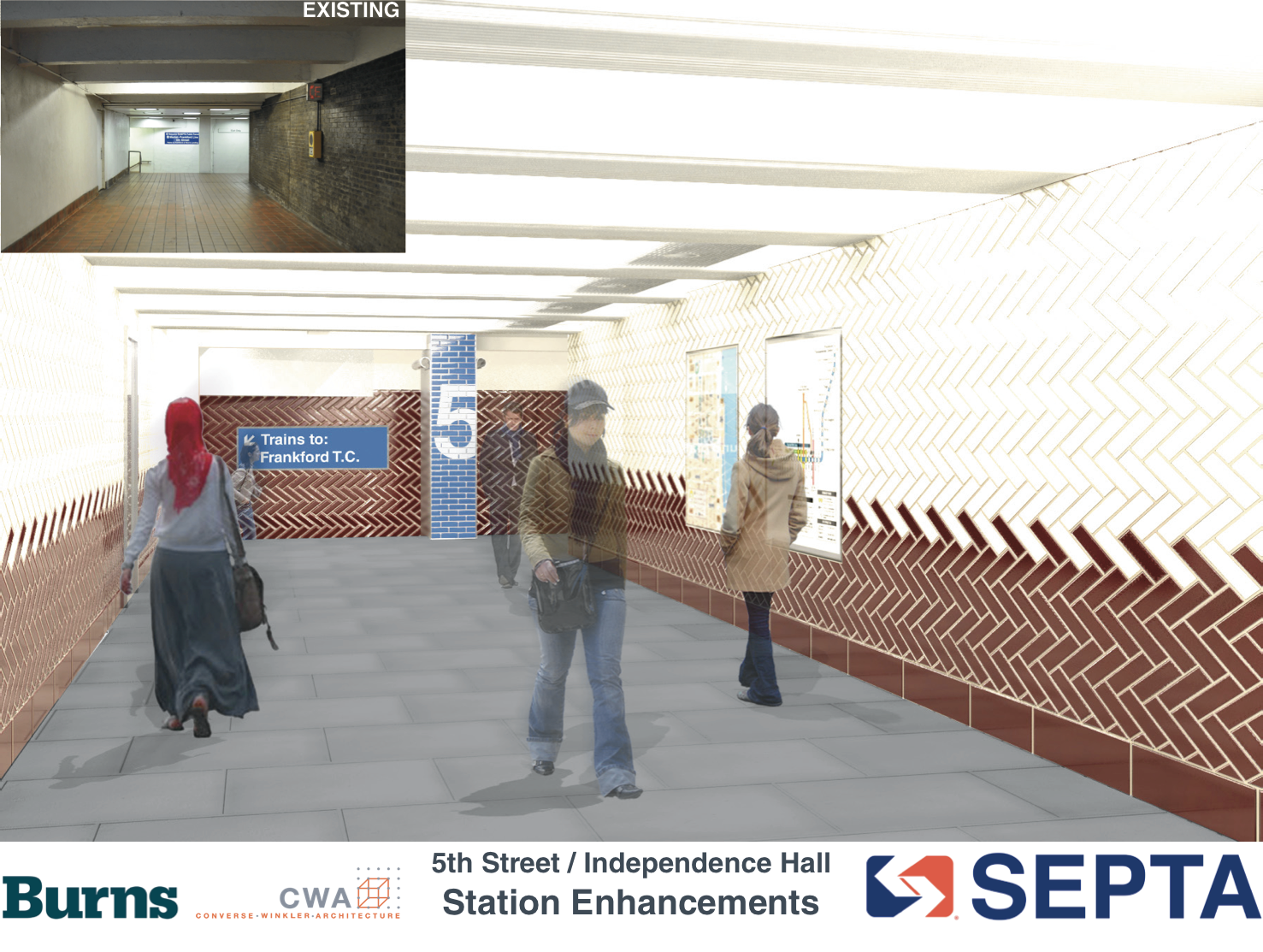5th Street / Independence Hall: Mezzanine rendering | courtesy of SEPTA