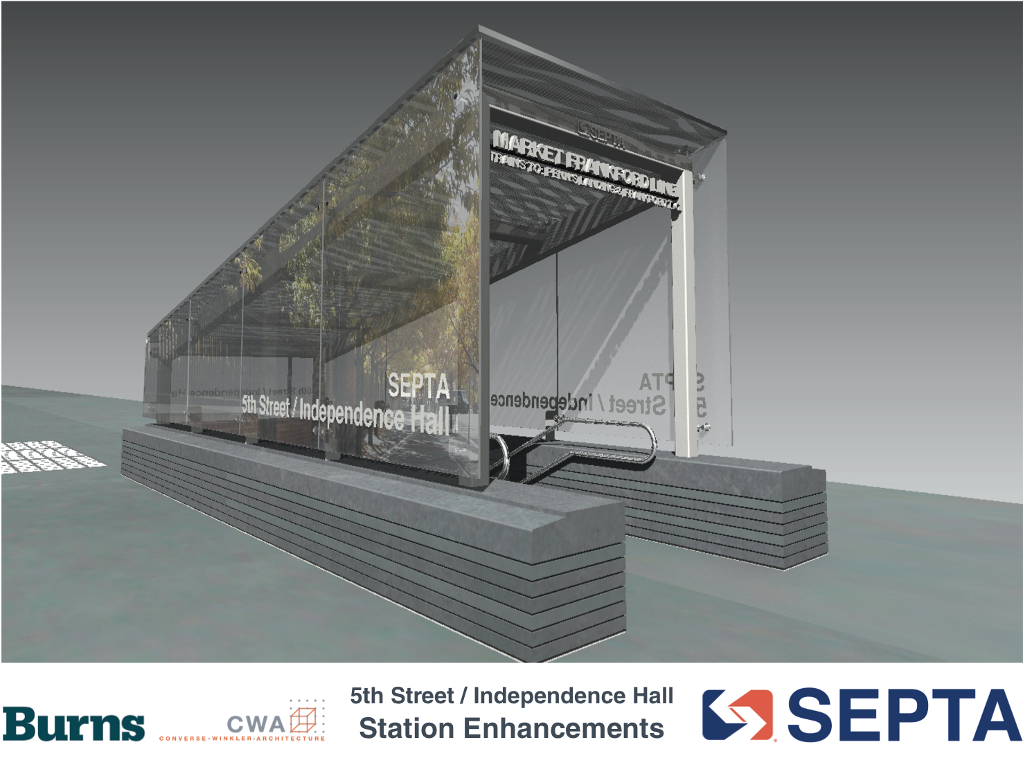 5th Street / Independence Hall: Proposed glass headhouse rendering | courtesy of SEPTA