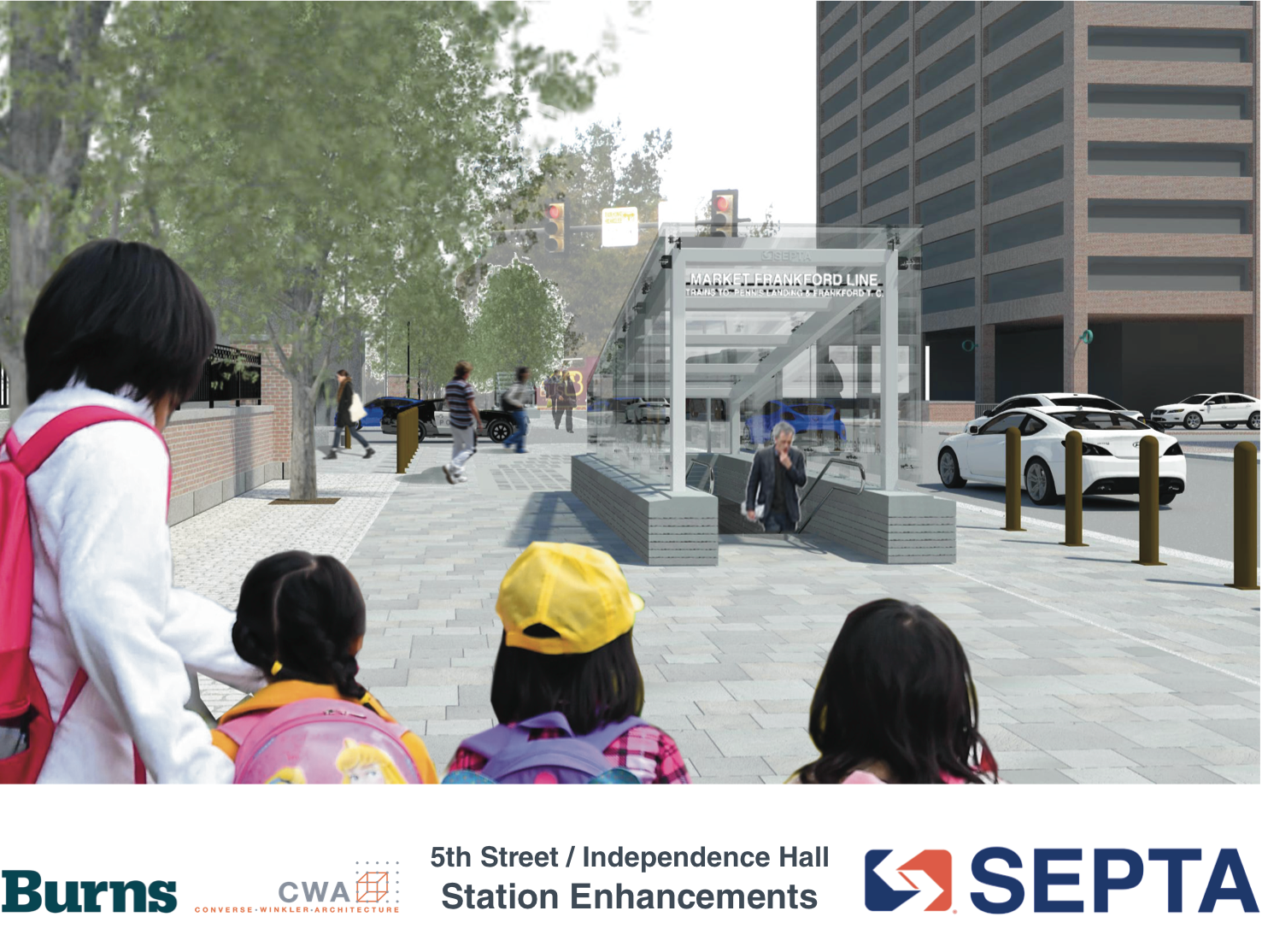 5th Street / Independence Hall: Rendering of new SW entrance | courtesy of SEPTA