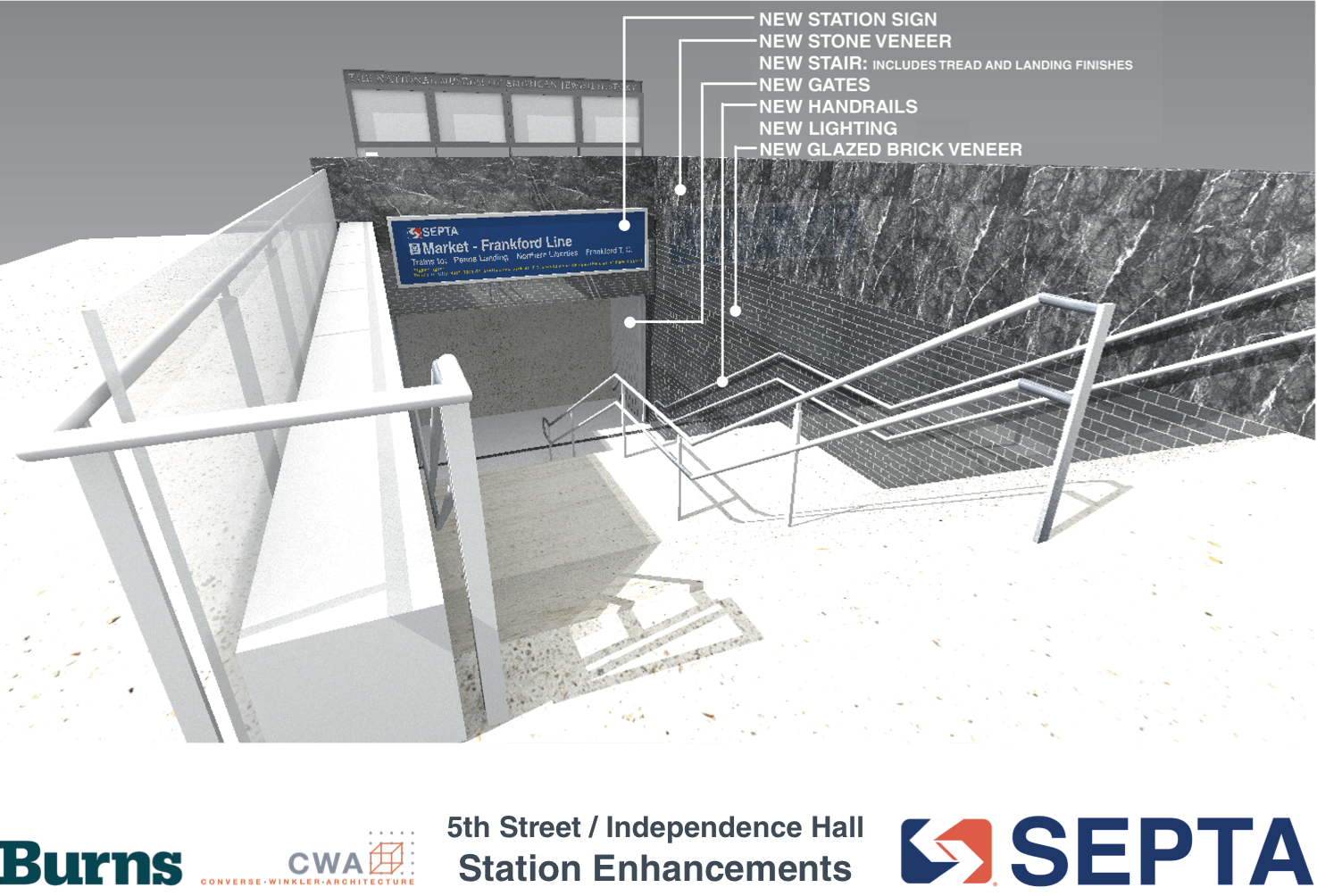 5th Street / Independence Hall: SE entrance renovation will remove 1970s remnants | courtesy of SEPTA