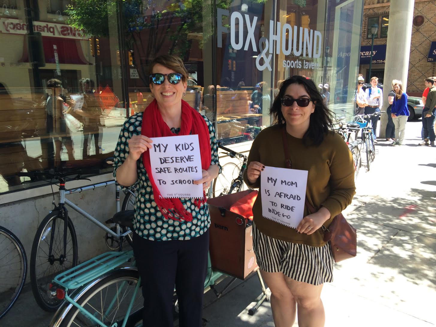 Among the advocates for better bike infrastructure: Kate Mundie and Dena Driscoll. June 14, 2016