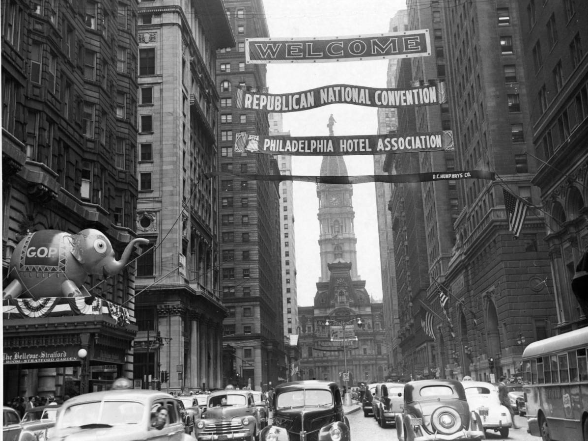 Banner above Broad Street welcomes Republican Convention to Philadelphia, June 1948 | Evening Bulletin | Special Collections Research Center, Temple University Libraries, Philadelphia, PA