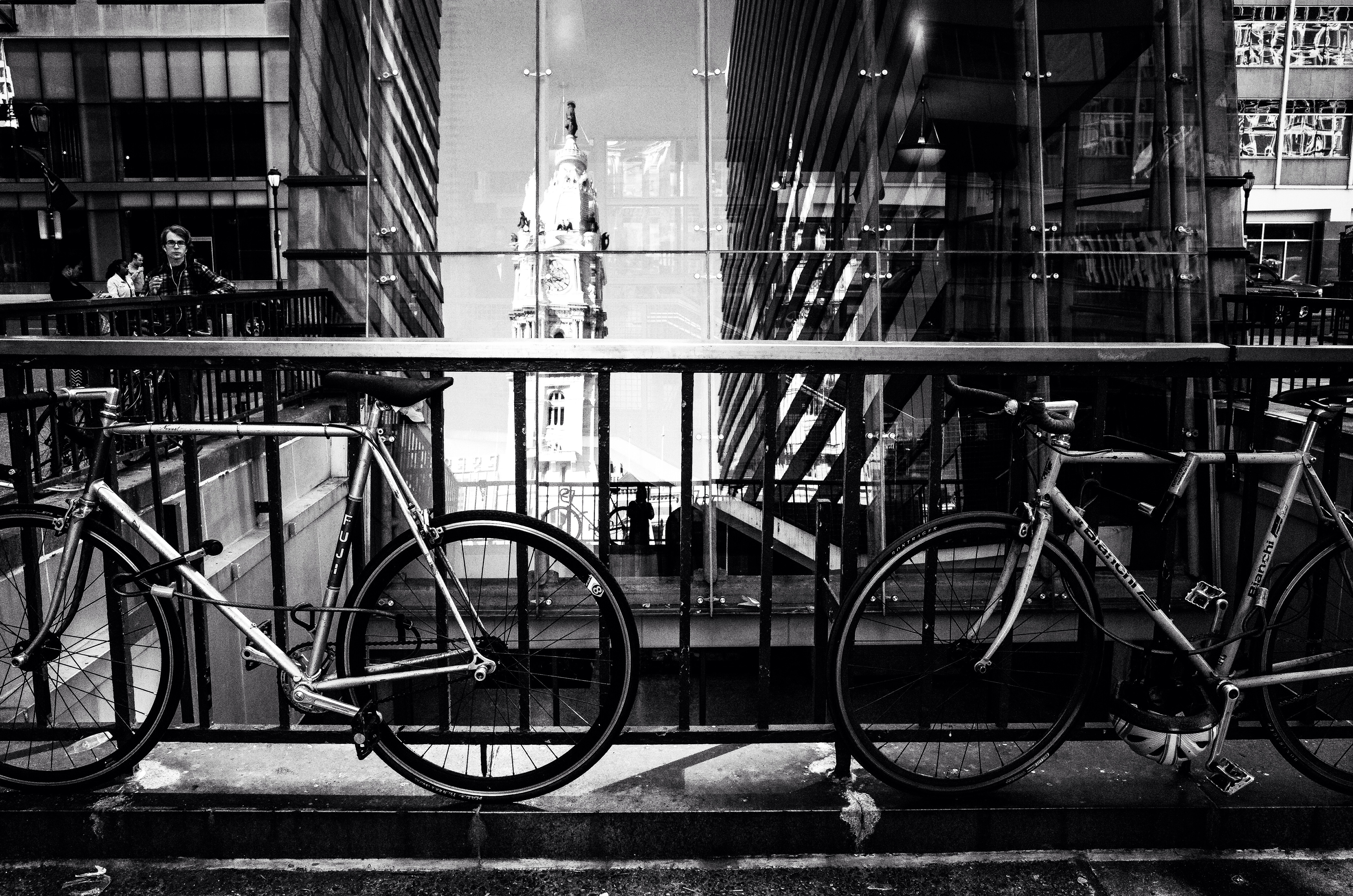 Bike parking, city hall reflections | Al BeFranke, EOTS Flickr Group