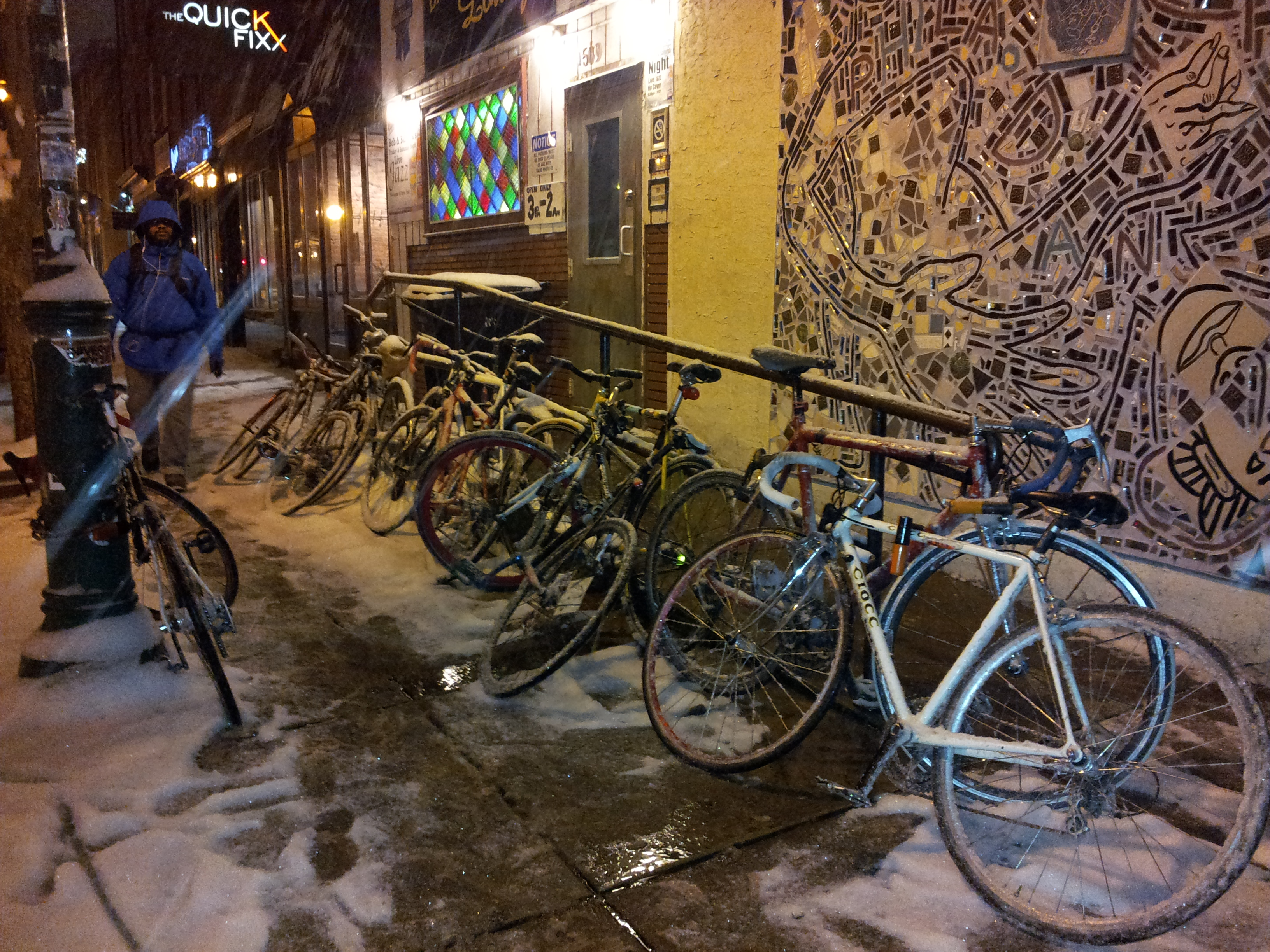 Bike pile up on B&B's ramp in the snow, 2013 | Marcus Ferreira