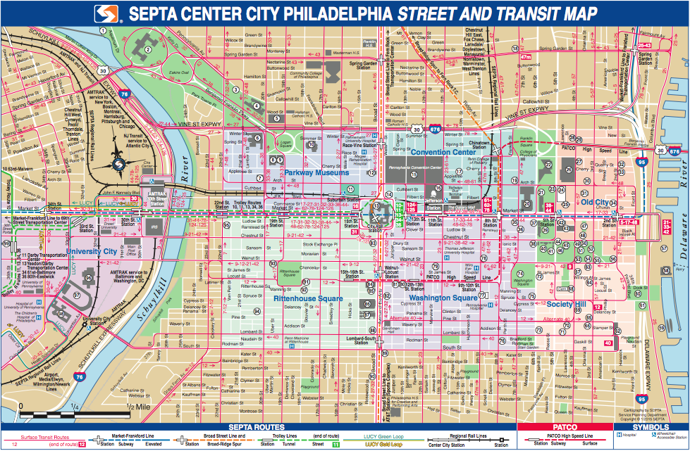 A Comprehensive, geographic Center City Bus Maps