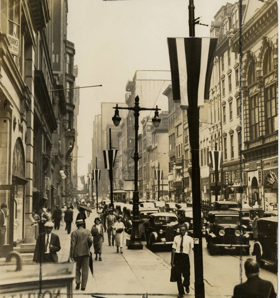 Chestnut Street looking west from 10th showing lamp post decorations, June 10, 1936 | Evening Bulletin | Special Collections Research Center, Temple University Libraries, Philadelphia, PA