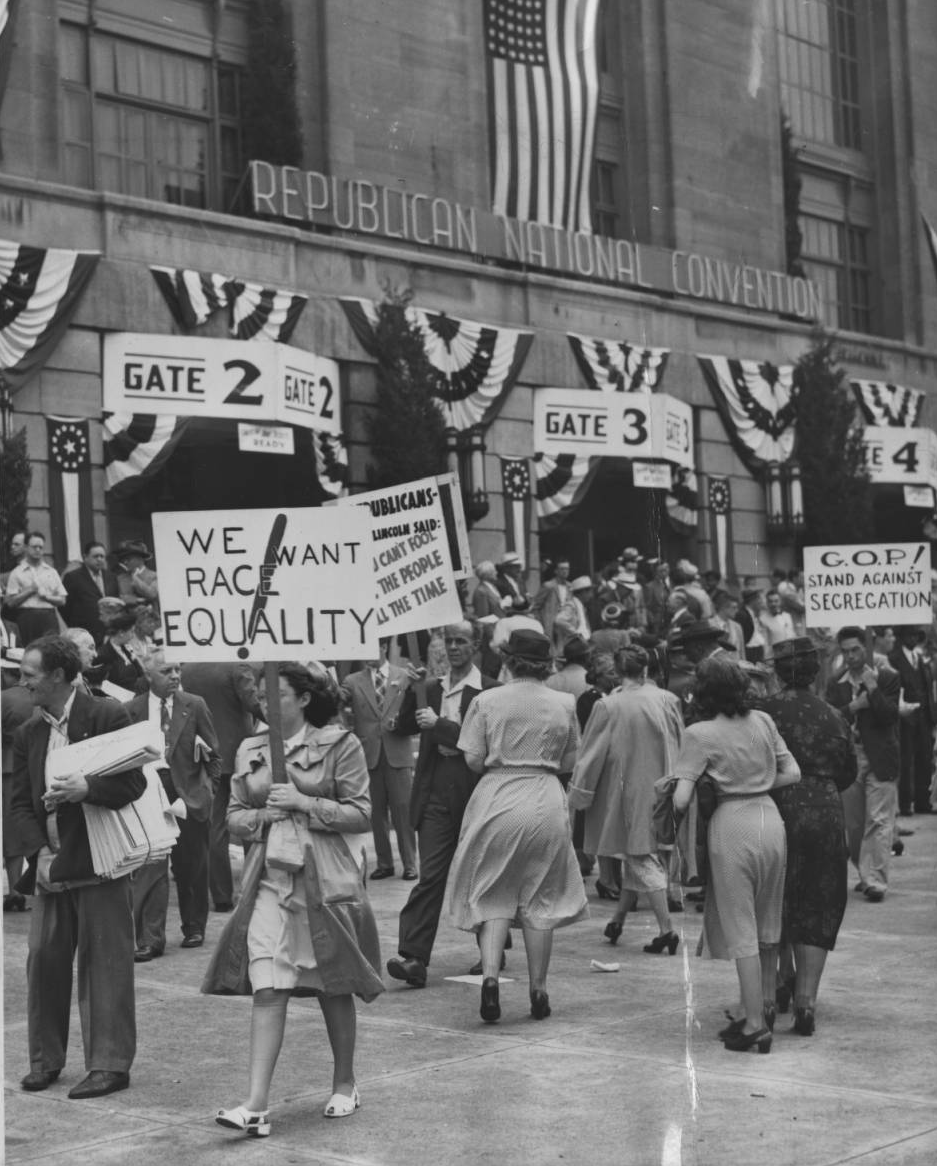 Civil rights demonstrations outside Republican Convention, Philadelphia - June 24, 1948 | Evening Bulletin Special Collections Research Center, Temple University Libraries, Philadelphia, PA