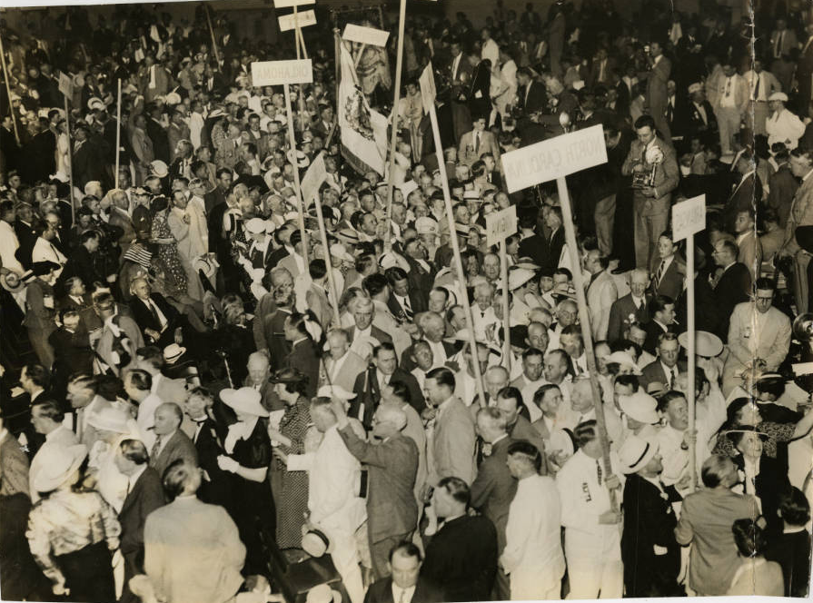 Crowd at Democratic National Convention at Philadelphia's Convention Hall. Evening Bulletin | Special Collections Research Center, Temple University Libraries, Philadelphia, PA