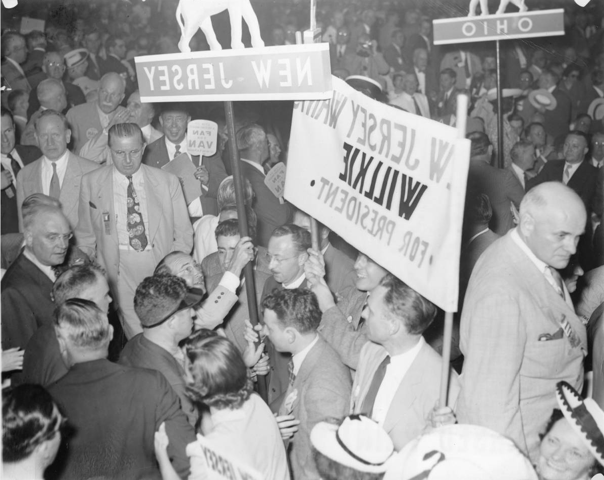 Delegates rally for Willkie in the 1940 Republican convention. | Special Collections Research Center, Temple University Libraries, Philadelphia, PA