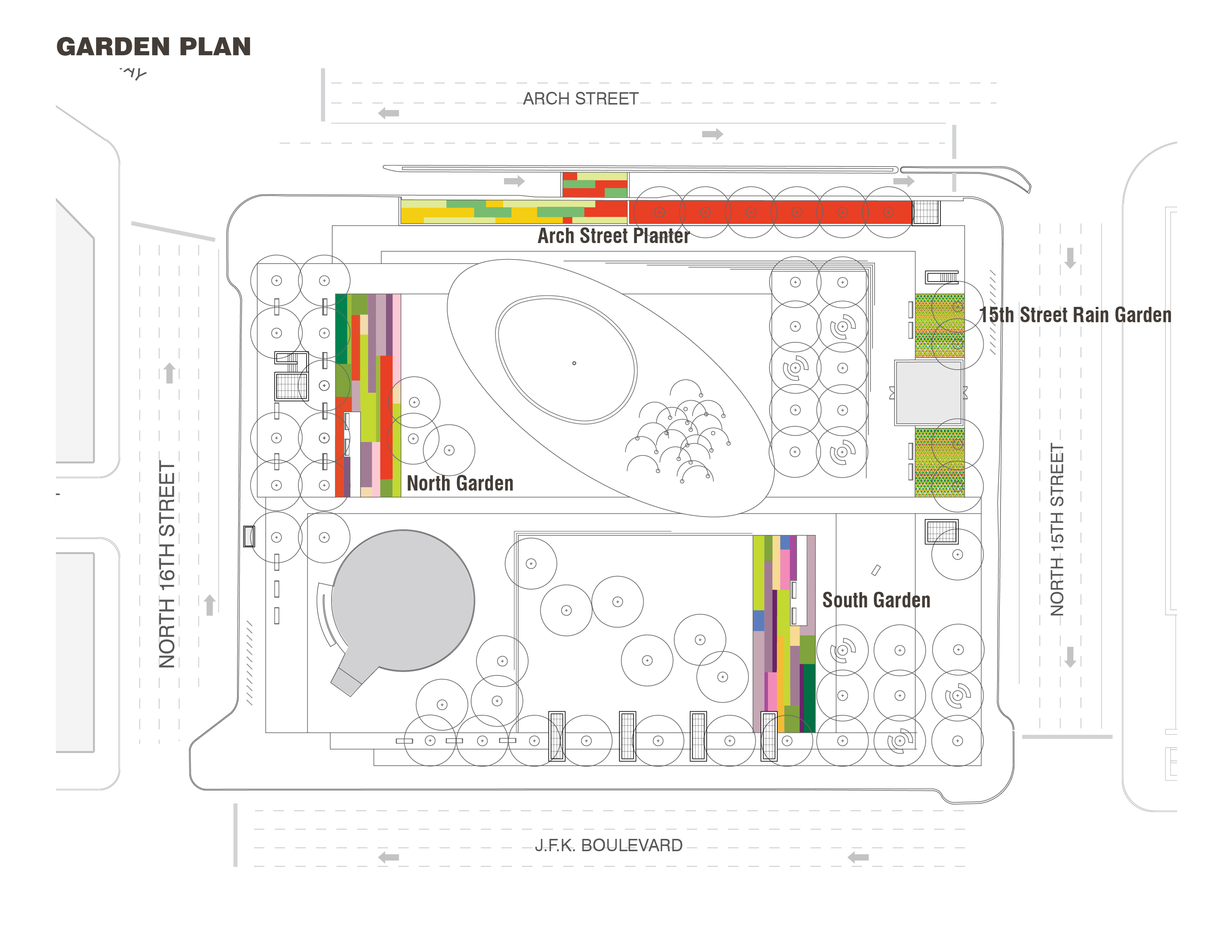 Garden Plan, LOVE Park / JFK Plaza, October 2015 | Hargreaves