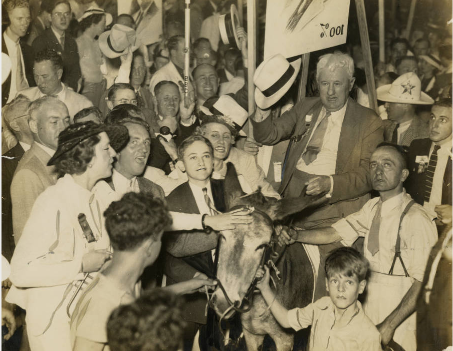 Gentleman from Mississipp rides donkey through Democratic National Convention crowd, June 1936 Philadelphia Evening Bulletin | Special Collections Research Center, Temple University Libraries, Philadelphia, PA