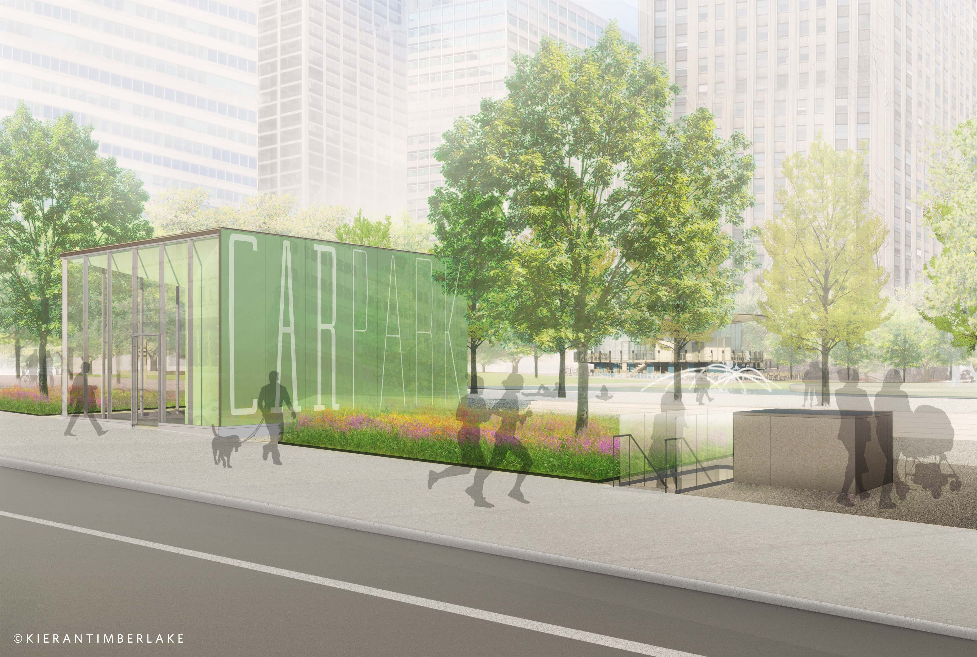 Glass cube CarPark headhouse for garage elevators | Kieran Timberlake