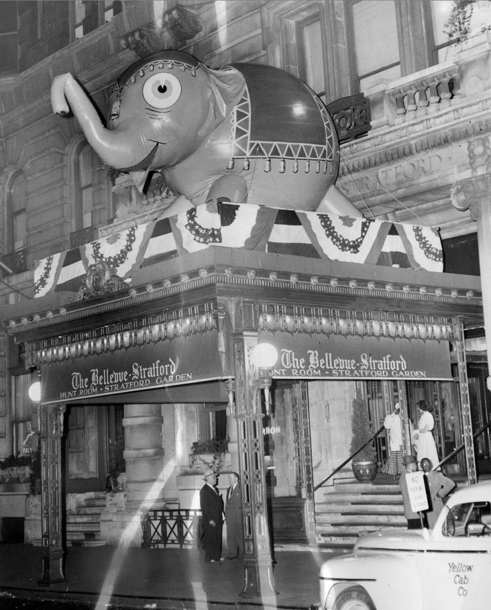 Mascot of the G.O.P decorates entrance to Bellevue-Stratford Hotel, 1948 Republican Convention, June 1948 | Evening Bulletin | Special Collections Research Center, Temple University Libraries, Philadelphia, PA