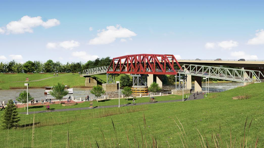 Original, discarded rendering of Grays Ferry pedestrian bridge | courtesy of Schuylkill River Development Corporation